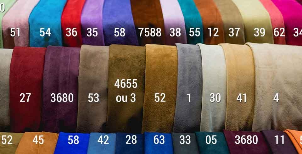 suèdes diverses couleurs